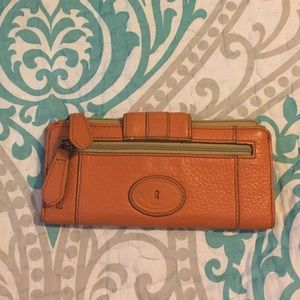 Burnt Orange Fossil Wallet